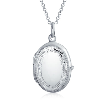 Vintage Style Engraved Leaf Holds Two Photo Picture Oval Locket For