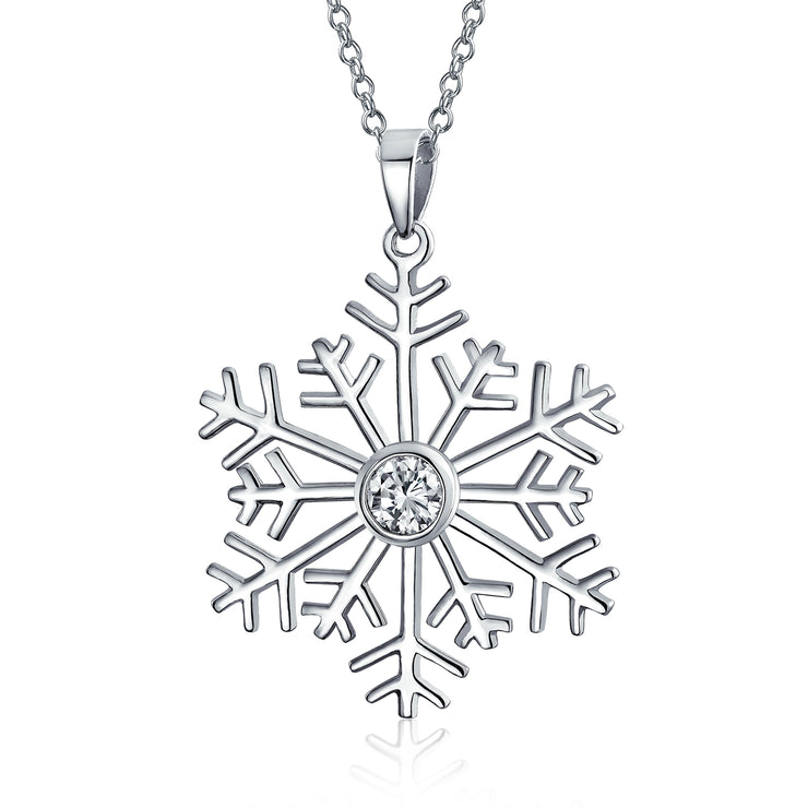 Holiday Winter Snowflake Pendant Necklace CZ High 925 Sterling Silver