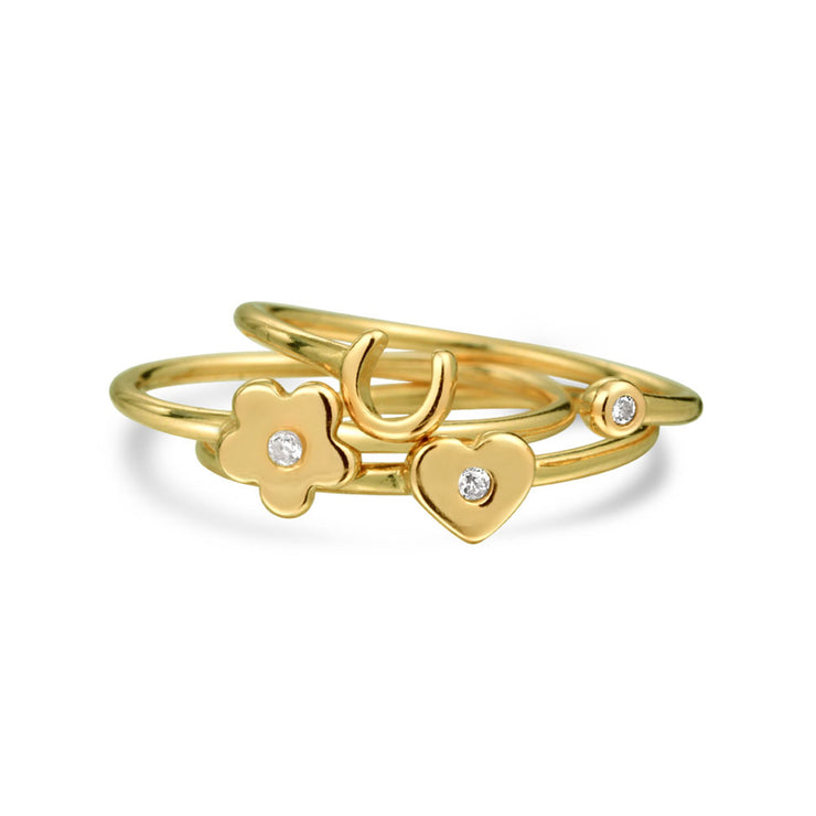 CZ Gold Plated Sterling Knuckle Flower Heart Horseshoe Ring Set