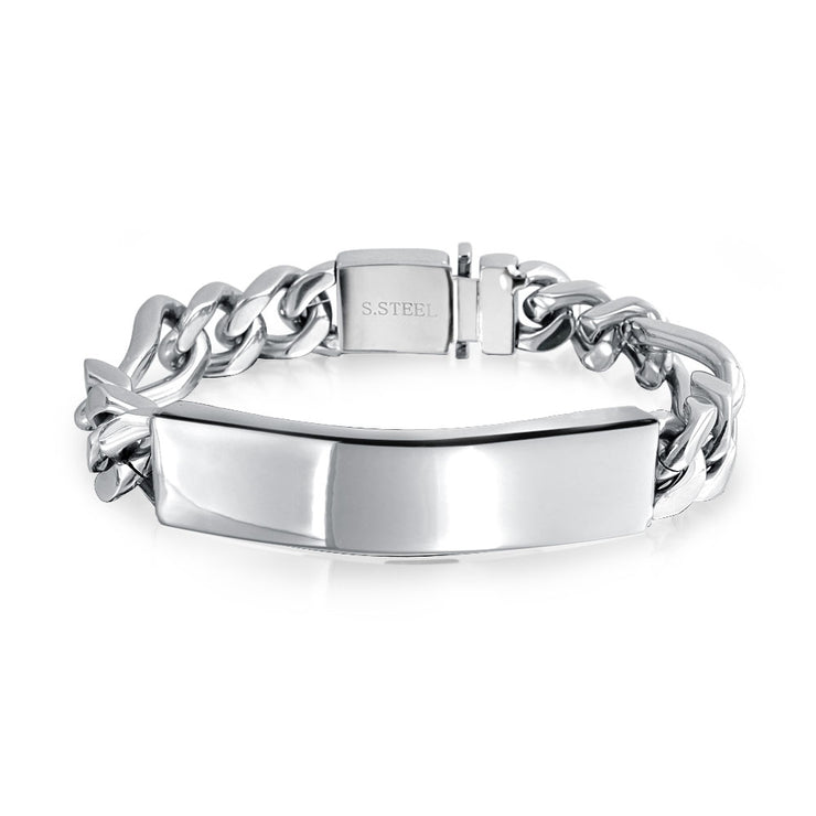 Mens Figaro Chain Link ID Bracelet Stainless Steel 8.5in