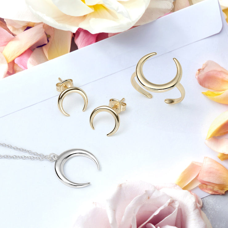 Celestial Crescent Moon Horn Stud Earrings Gold Plated Silver