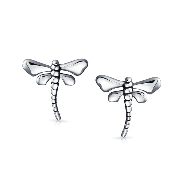 Garden Insect Dragonfly Stud Earrings For Women 925 Sterling Silver