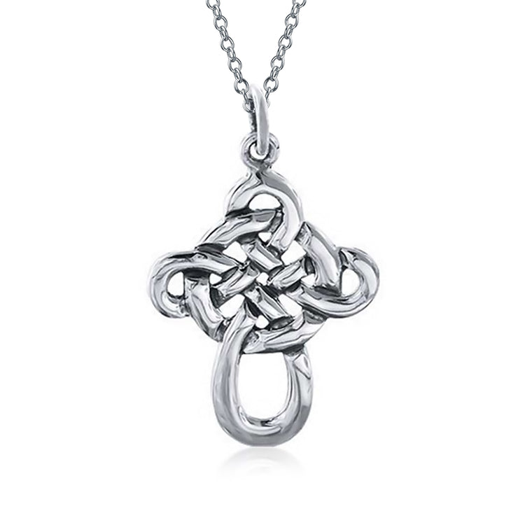Celtic Knot Twisted Cross Pendant Sterling Silver Necklace 1.5 inch