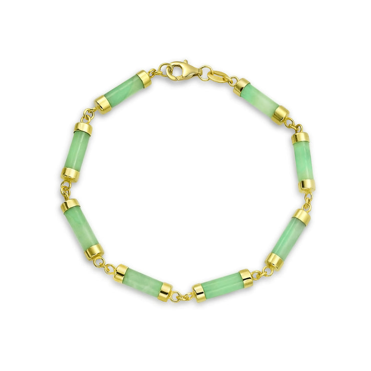 Asian Style Green Jade Bar Bracelet 14K Gold Plated Sterling Silver