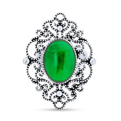 Oval Dyed Green Jade Armor Full Finger Ring 925 Sterling Silver