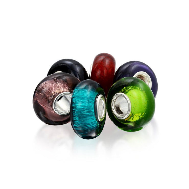 Jewel Tone Murano Glass Mix OF 6 Sterling Silver Bead Charm Bracelet