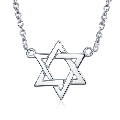 Menorah Star David Jewish Pendant Necklace Intertwine Sterling Silver