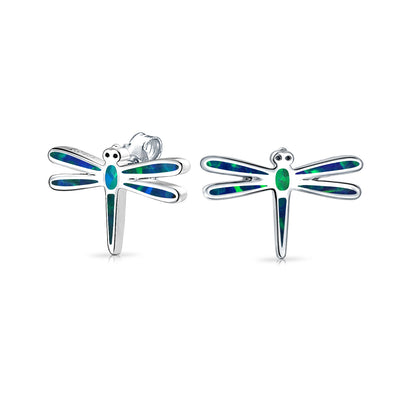 Blue Created Opal Garden Dragonfly Stud Earrings 925 Sterling Silver