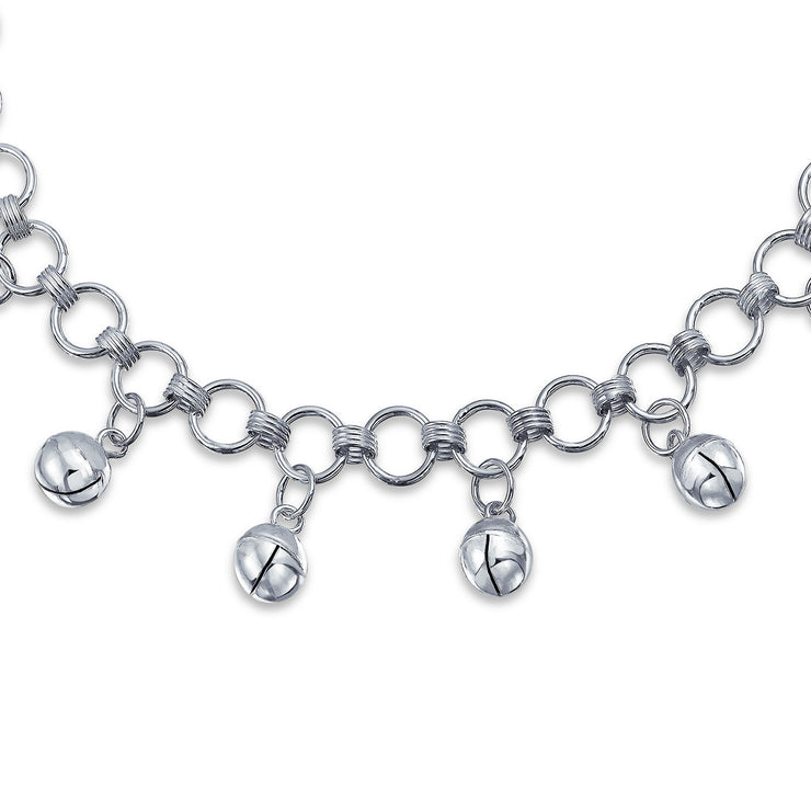 Multi Jingle Bells Pattilu India Dangle Charms Anklet Sterling Silver