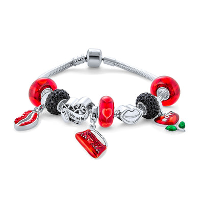 Hot Kiss Red Lips Valentines Bead Charm Bracelet 925 Sterling Silver
