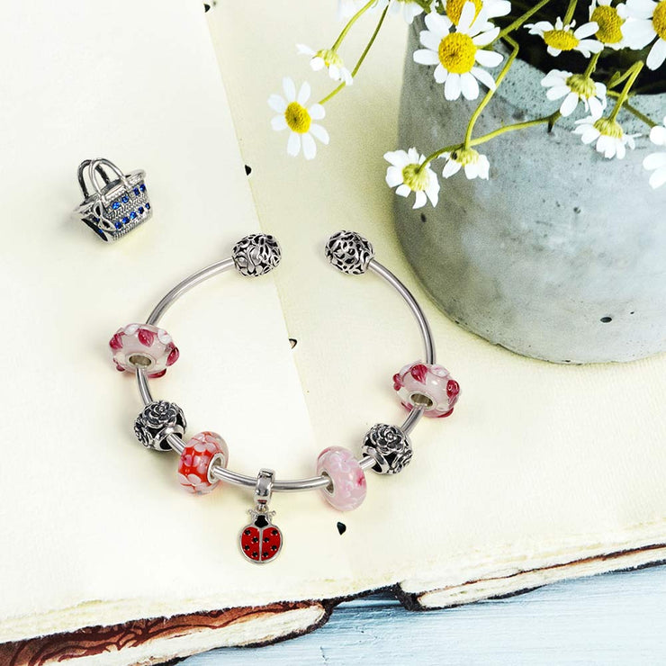 Red Ladybug Insect Gardener Dangle Charm Bead 925 Sterling Silver