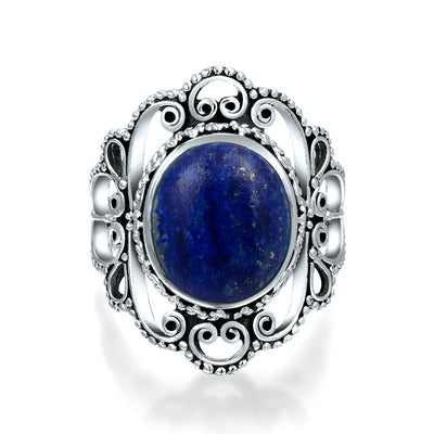 Filigree Round Boho Blue Lapis Lazuli Ring 925 Sterling Silver