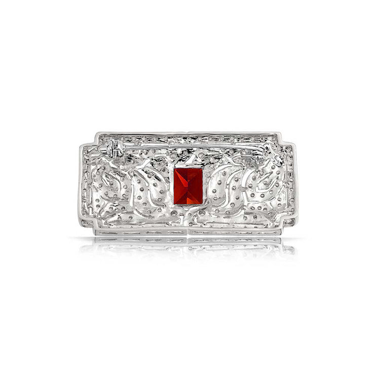 Art Deco Vintage Style Filigree Red AAA CZ Rectangle Scarf Brooch Pin