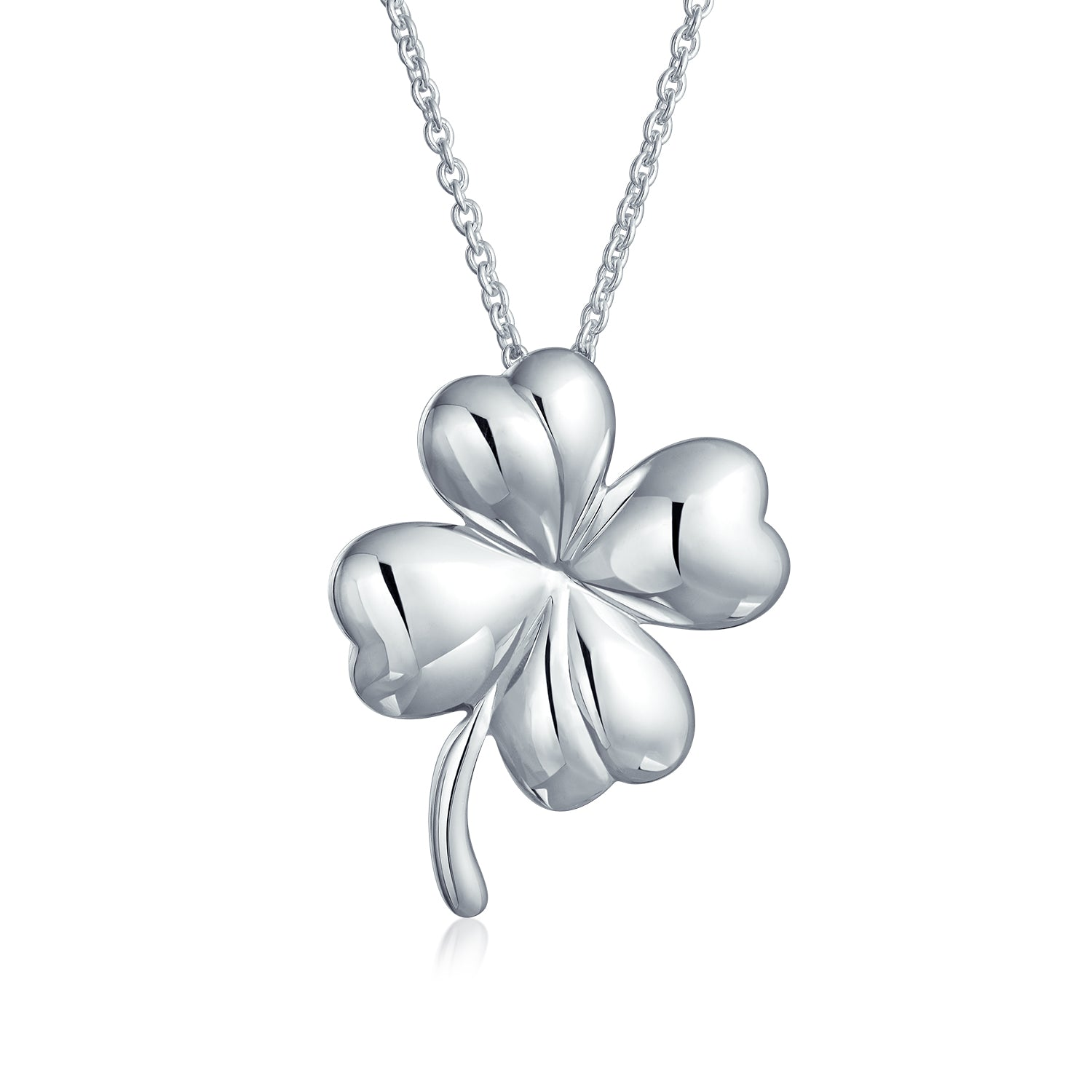 Sterling Silver Four Leaf Clover Pendant on a 3mm Rolo Chain Necklace 0276