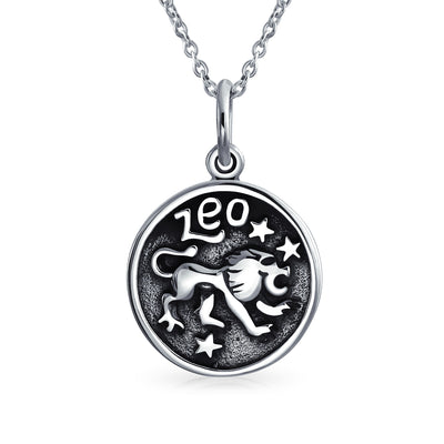 Zodiac Astrology Round Medallion Pendant Necklace 925 Sterling Silver