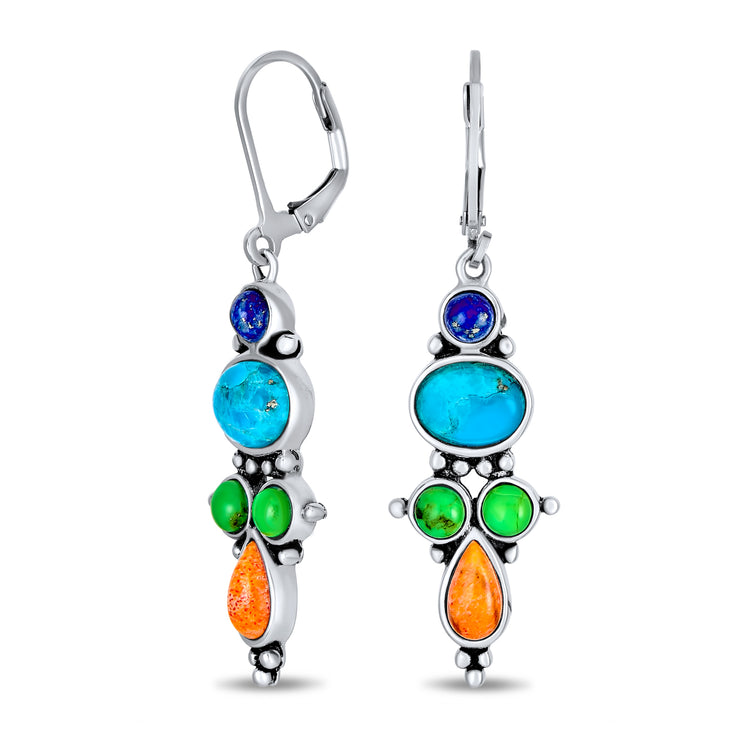 Multi Gemstones Lapis Turquoise Dangle Earrings 925 Sterling Silver