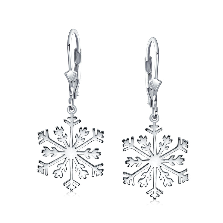 Winter Christmas Snowflake Dangle Leverback Earrings Sterling Silver