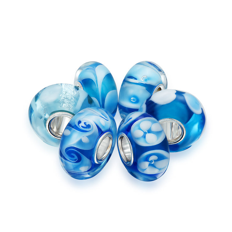 Aqua Blue Murano Glass Bead Charm Bundle Set 925 Sterling Silver
