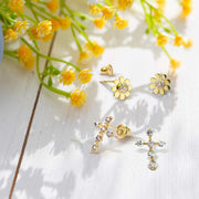 Tiny CZ Daisy Flower Stud Earrings Real 14K Yellow Gold Screwback