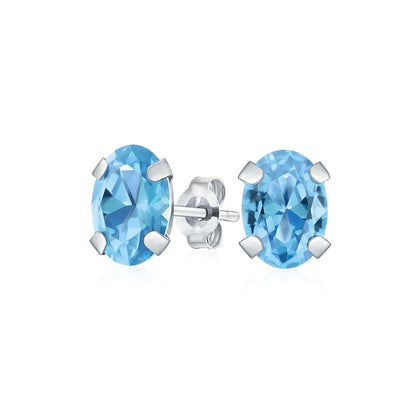 Oval London Blue Gemstone Topaz Stud Earrings Real 14K White Gold