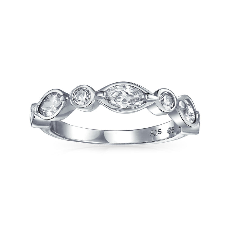 CZ Thin Bubble Marquise Wedding Band Ring 925 Sterling Silver