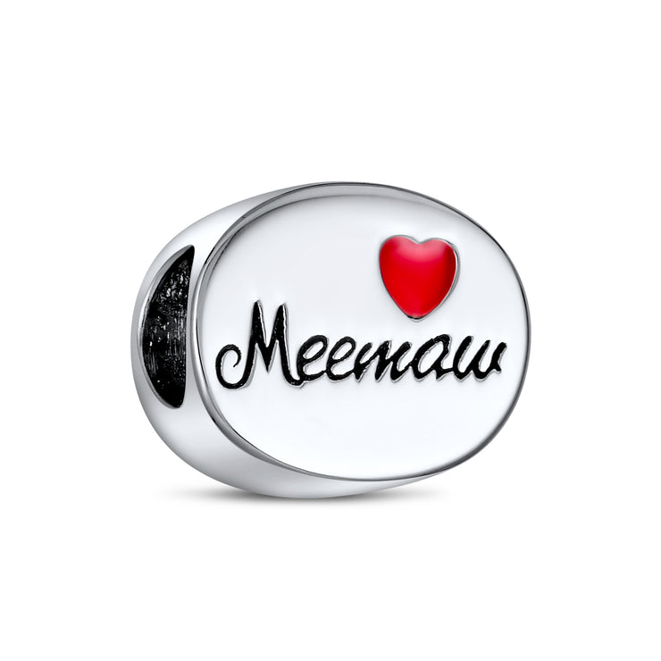 Word Meemaw Grandmother Nana Red Heart Charm Bead .925 Sterling Silver