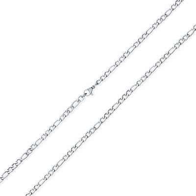 4.5MM Silver Tone Stainless Steel Necklace Figaro Link Chain Men Heavy