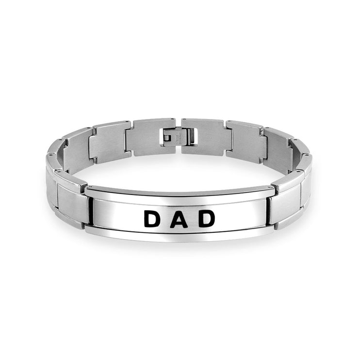 Dad Daddy Name Plated Bicycle ID Bracelet Father Stainless Steel