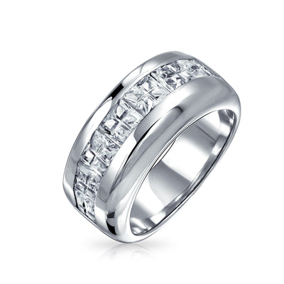 AAA CZ Invisible Cut Engagement Ring Wedding Band 925 Sterling Silver