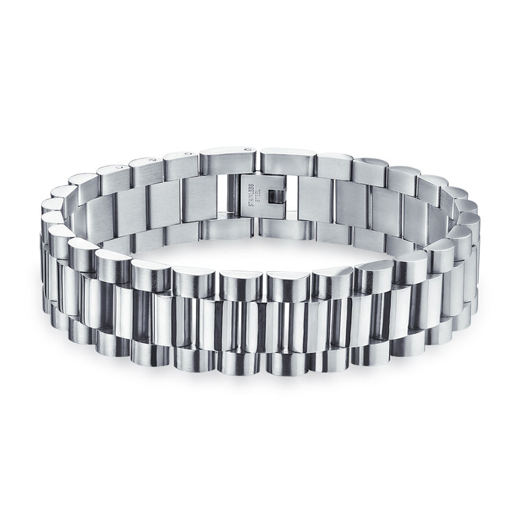 Watch Band Link Bracelet For Men Shinny Silver Tone Stainless Steel