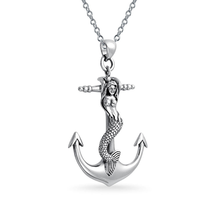 Nautical Anchor Mermaid Siren Lover Pendant Necklace Sterling Silver