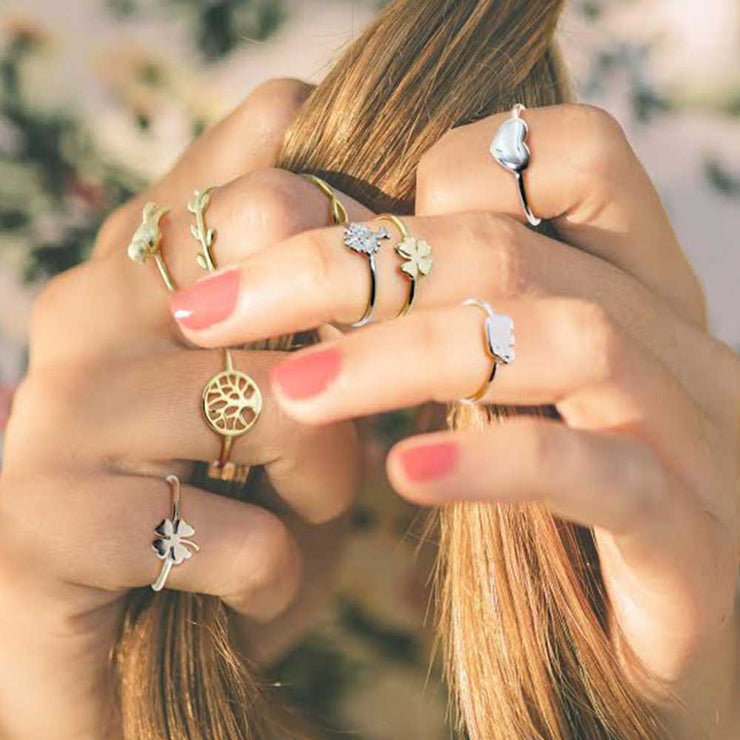 Gold Plated Sterling Silver Clover Elephant Midi Knuckle Ring Set