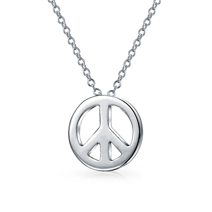 Delicate Tiny Peace Symbol Pendant Charm Necklace 925 Sterling Silver