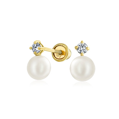 CZ Freshwater Cultured Pearl Stud Earrings Real 14K Gold Screwback