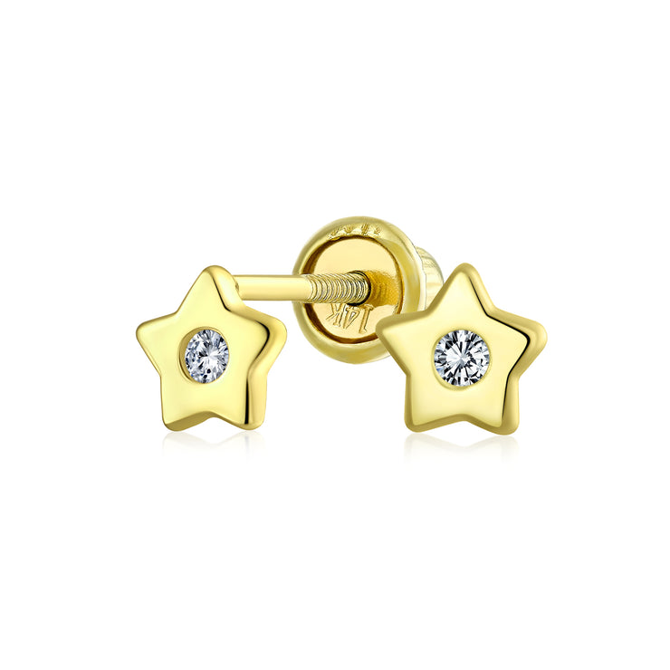 Celestial USA Patriotic Star CZ Stud Earrings Real 14K Gold Screwback