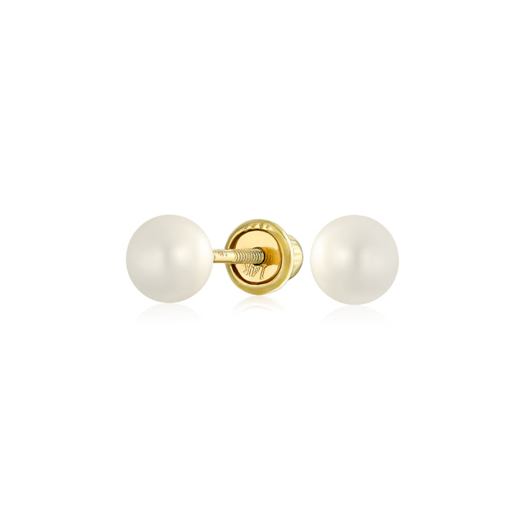 Round Freshwater Cultured Pearl Stud Earrings Real 14K Gold Screwback