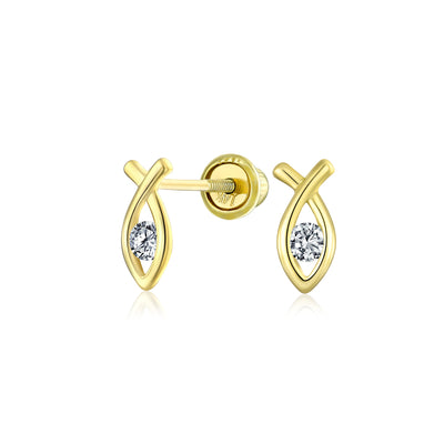Religious Ichthus Jesus Fish Stud Earrings CZ Real 14K Gold Screwback