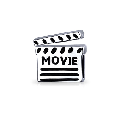 Theater Lover Director Movie Clapboard Bead Charm 925 Sterling Silver