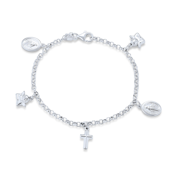 Crosses Virgin Mary Cherub Dangle Charm Anklet 925 Sterling Silver