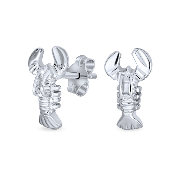 Nautical Be My Lobster Small Stud Earrings Women 925 Sterling Silver