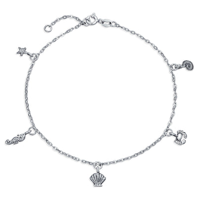 Charm Dangle Starfish Crab Seahorse Concho Sea Anklet Sterling Silver