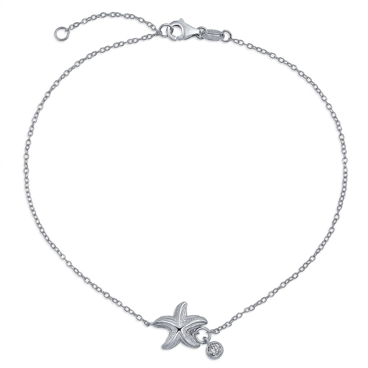 Nautical Starfish CZ Anklet 925 Sterling Silver 9 to 10 Inch Extender