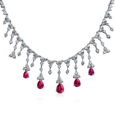 Bridal Red CZ Tear Dangle Simulated Ruby Statement Necklace Silver