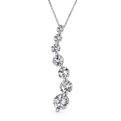 2.5 CT Solitaire CZ Love is a Journey Pendant Sterling Silver Necklace