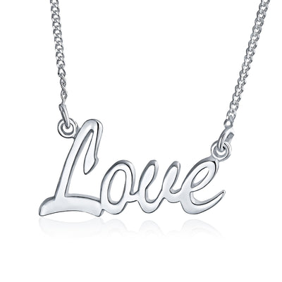 Script Name Plated Style Pendant Necklace 925 Sterling Silver 16 Inch