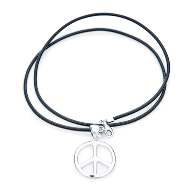 Large Peace Pendant Necklace Black Leather Cord 925 Sterling Silver