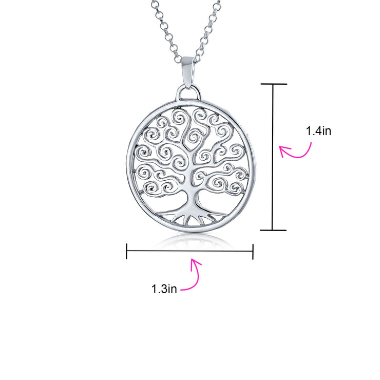 Circle Tree Of Life Pendant Wishing Tree Necklace 925 Sterling Silver