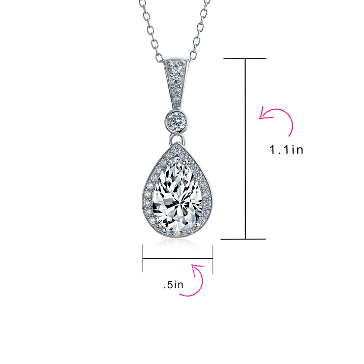 Halo Teardrop White Cubic Zirconia CZ Prom Dangling Pendant Necklace
