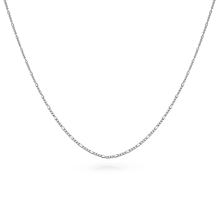 Thin Figaro Chain 40 Gauge Necklace 925 Sterling Silver Made In Italy