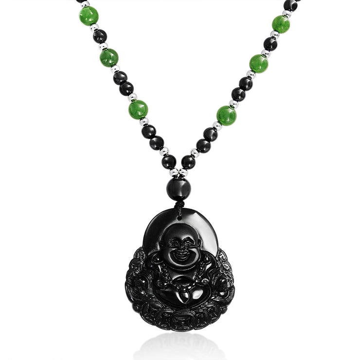 Buddha Pendant Turquoise Bead Necklace Black Carved Opaque Glass